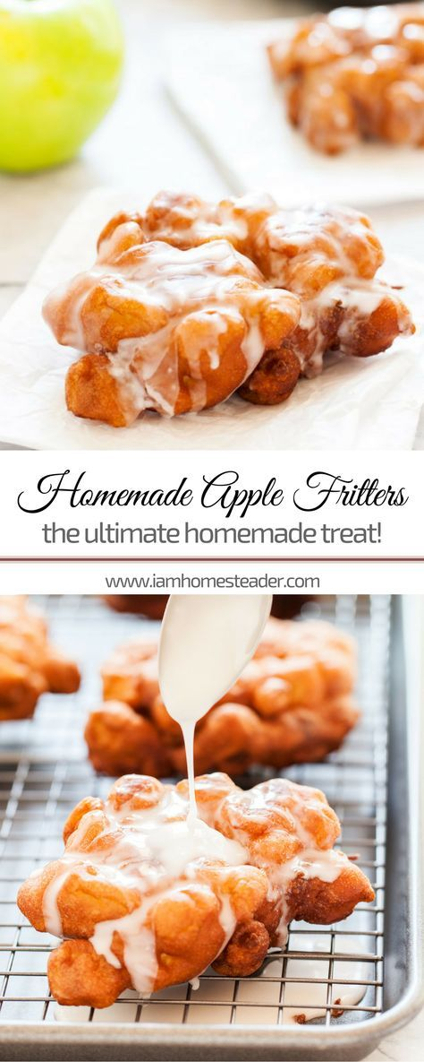 HOMEMADE APPLE FRITTERS | Looking for easy dessert recipes for the whole family? You'll totally love this easy apple fritters recipe! Simple and healthy dessert recipe and the sweet glaze of this dessert will surely be a sweet treat! Check us out @iamhomesteader for more healthy homemade cooking and easy homesteading recipes you can do at home. #healthyliving #Homestead #homesteading