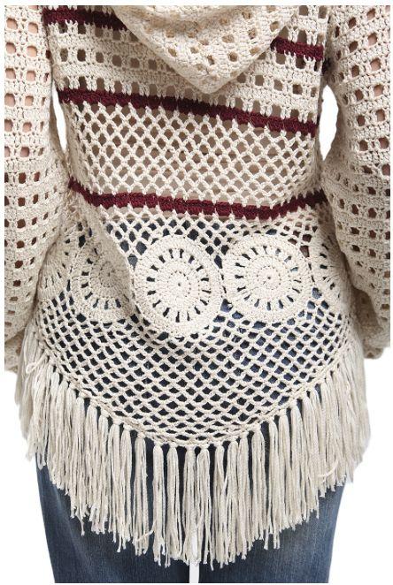 Fringe Borgoña raya suéter con capucha | Isshoes Boutique
