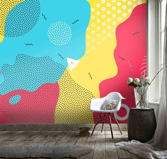 3d Red Yellow Blue Abstract Graffiti Wallpaper Mural Peel And Etsy In 2020 Mural Mural Wallpaper Graffiti Wallpaper
