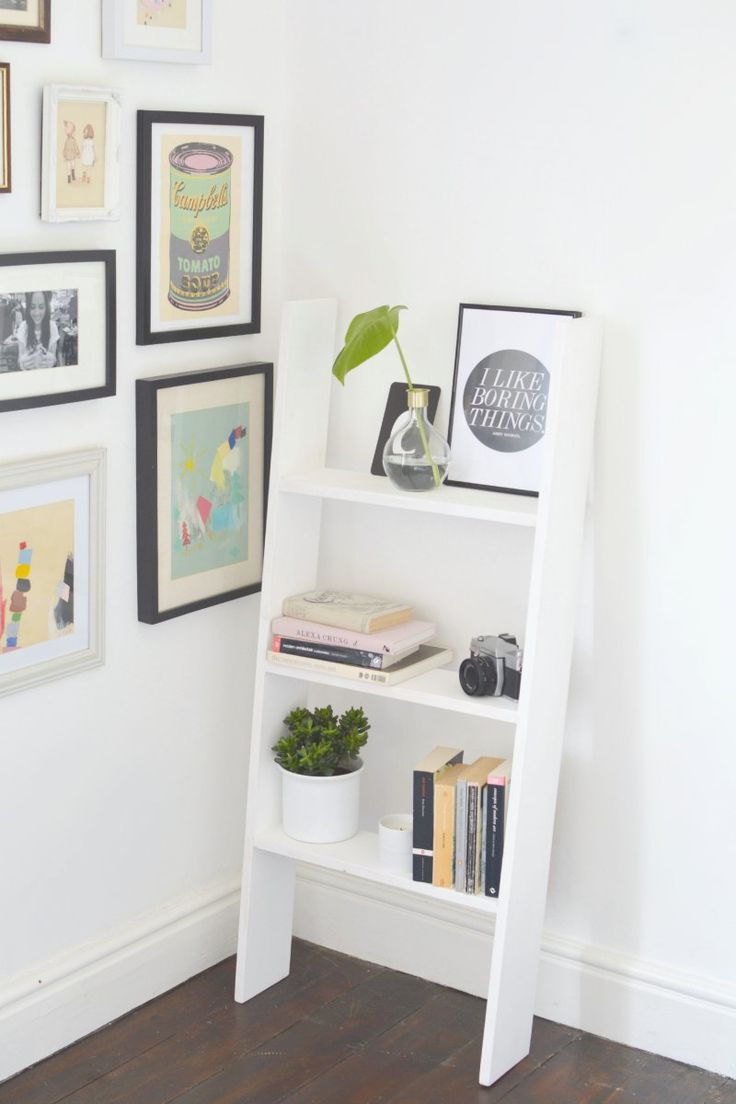 DIY wooden ladder shelf