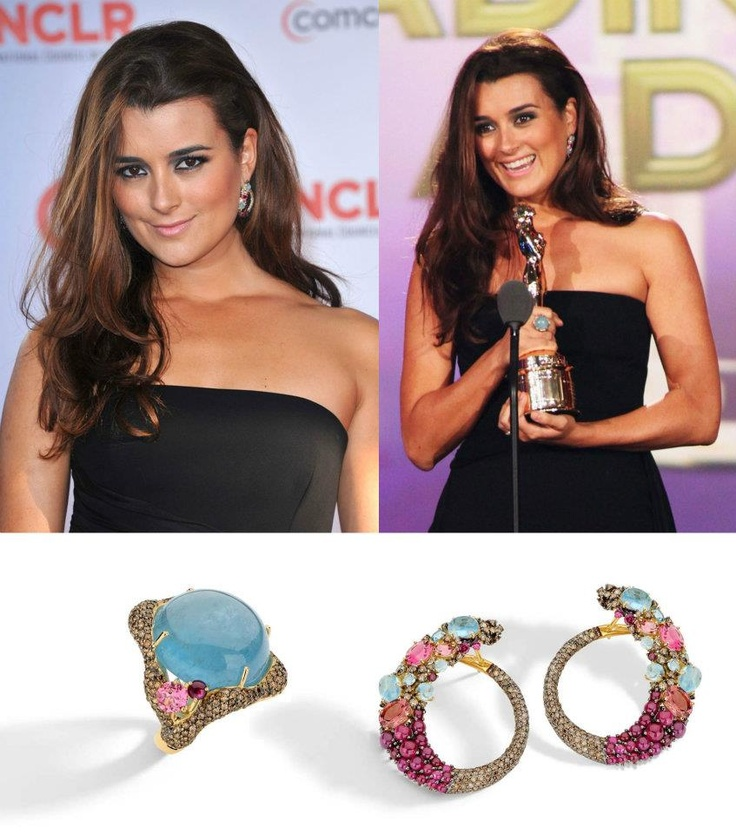 """Actress Cote de Pablo wearing BRUMANI jewelry to the """"2011"""