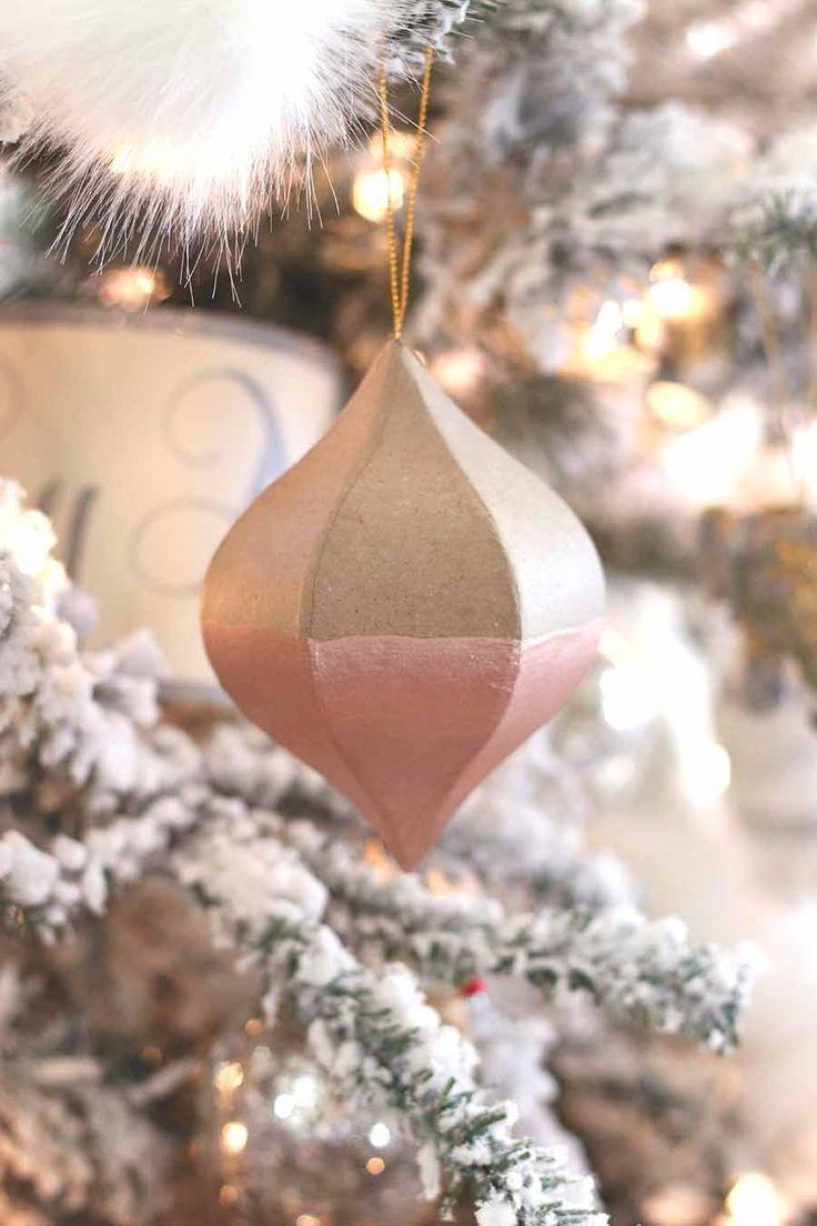 DIY Ornaments: $1 Dipped Rose Gold
