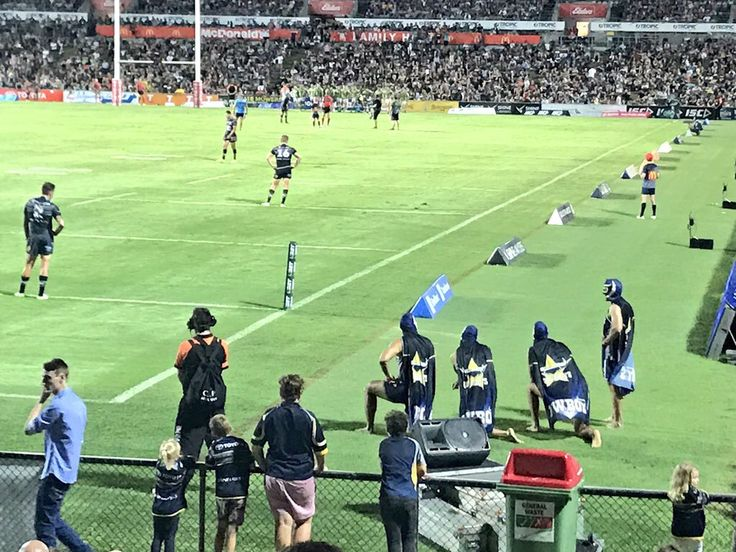 NQ Cowboys NRL these mascots did pushups for the crowd after every point that was scored