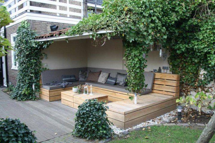 grote loungebank U-vorm van Douglashout Buitenleven!