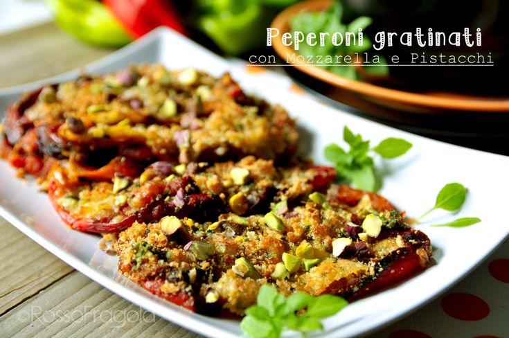 Peperoni gratinati con mozzarella e pistacchi
