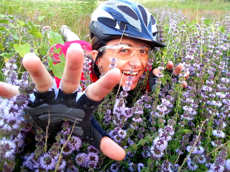 Bike Girl in a field of flowers - Countryside, Summer