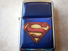 SUPERMAN MOVIE MAN OF STEEL STAR CIGAR CIGARETTE LIGHTER & extra zippo flints