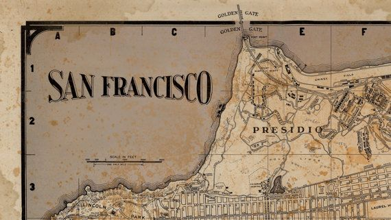 San Francisco Map Print : Vintage rustic San by FirstClassDesignCo
