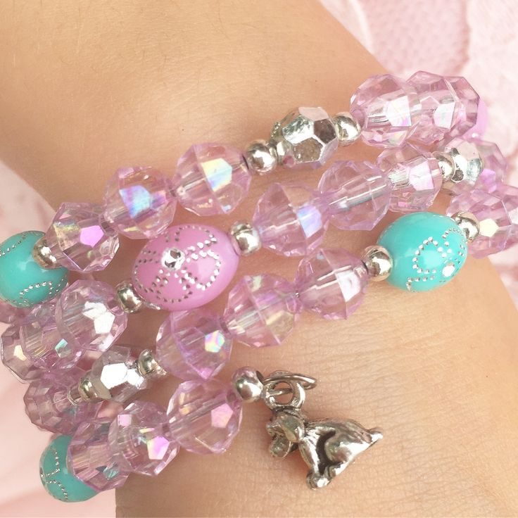 Jewelry Making Birthday party kits by Beading Buds.  Blue and pink bracelet with puppy charm.