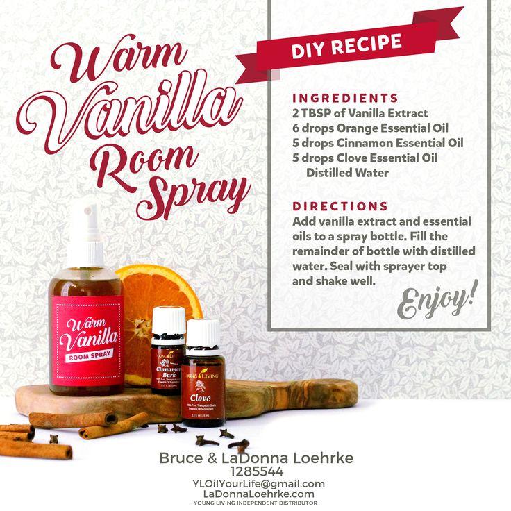 Warm Vanilla Room Spray DIY Recipe with Young Living Essential Oils!