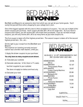 Problem-Based Assessment: Bed Bath & Beyond shopping problem. Free!