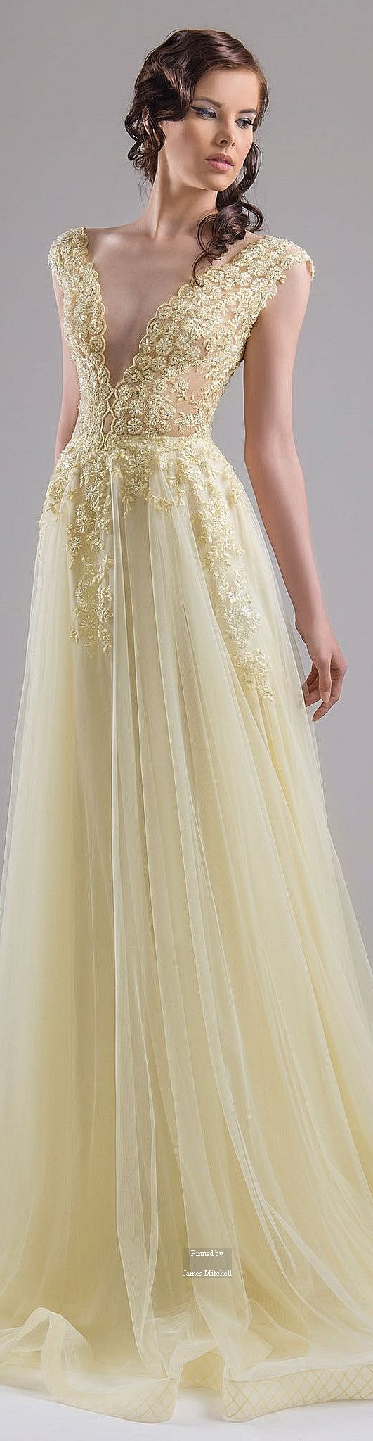 Chrystelle Atallah ~ Couture Spring Lemon Chiffon Gown w Plunging Neckline + Cascading Embroidery and Pleated Full Skirt 2015