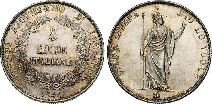 NumisBids: Numismatica Varesi s.a.s. Auction 65, Lot 444 : MILANO - GOVERNO PROVVISORIO DI LOMBARDIA (1848) 5 Lire 1848. ...