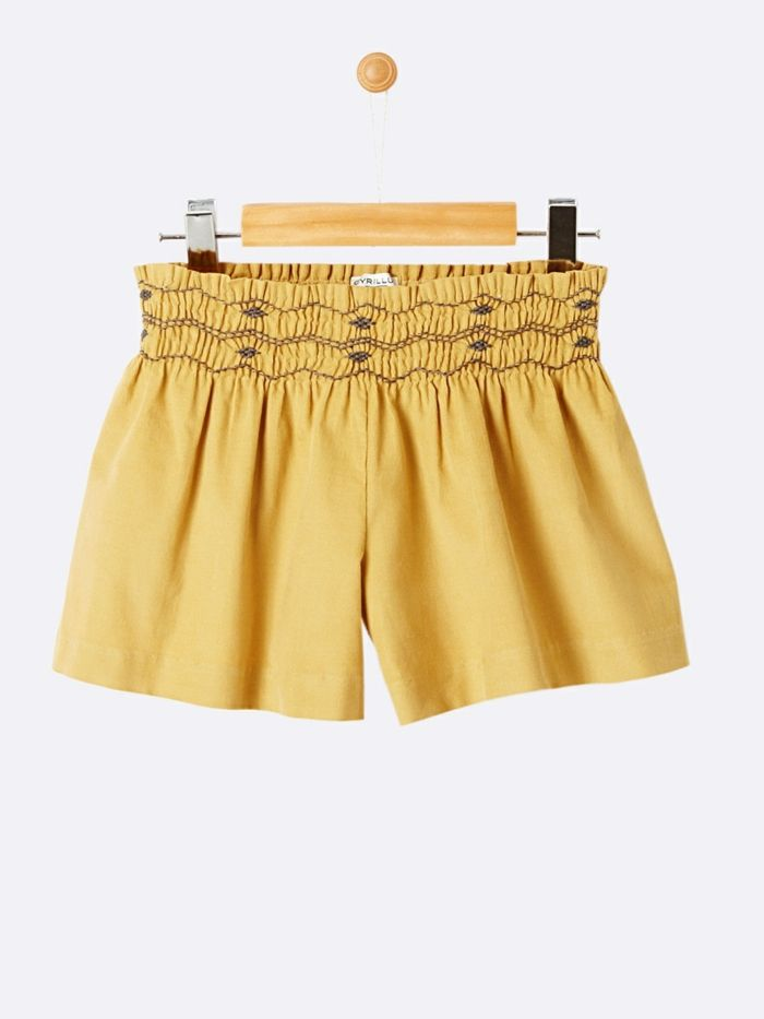 bermuda enfant tres court effet jupe en jaune Cyrillus