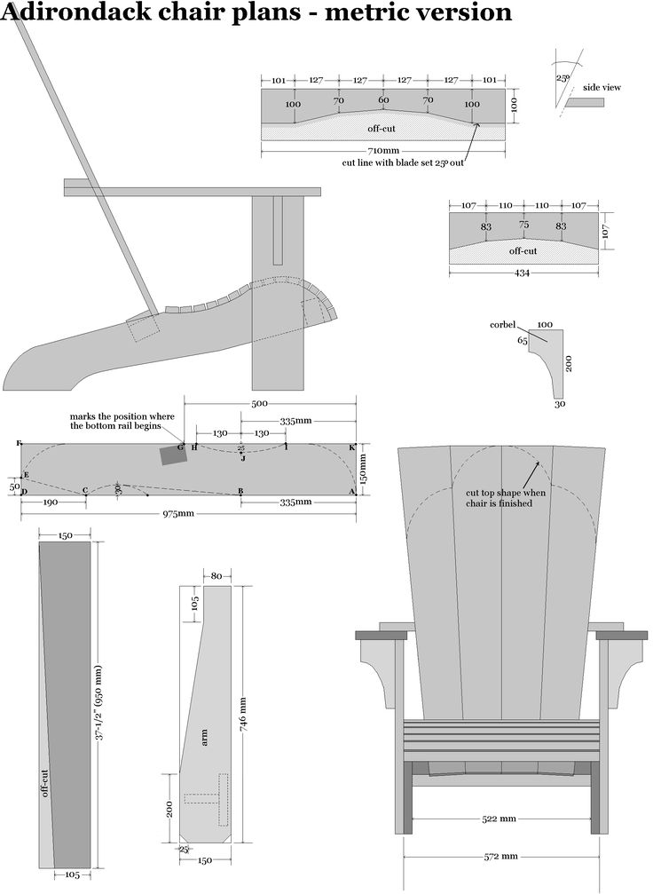 Adirondack chair plans in metric dimensions Adirondack