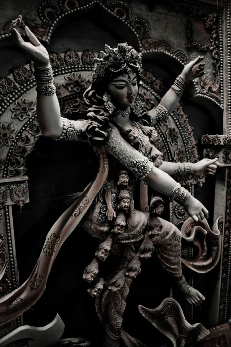 """Durga becomes angry, her face becoming dark as ink. Suddenly the goddess Kali springs from her forehead."" Kali is Durga's rage, fury, and bloodlust unleashed onto the battlefield. ""She roars loudly and leaps into battle where she tears demons apart with her hands and crushes them in her jaws."""