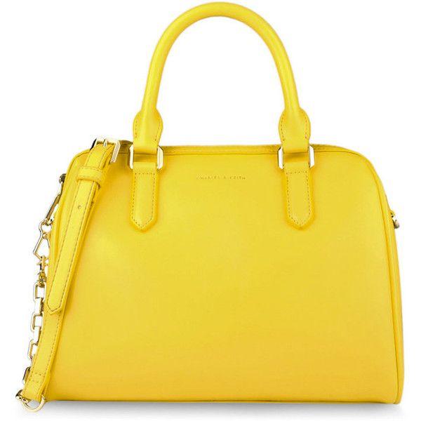 CHARLES & KEITH Bowling Bag ($66) ❤ liked on Polyvore featuring bags, handbags, purses, bolsas, yellow, bowling bags, zipper bag, charles & keith, bowler purse and strap bag