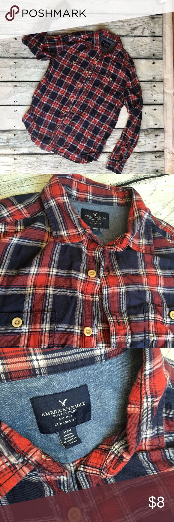 American Eagle men's plaid shirt classic fit M Preowned American Eagle men's classic fit plaid shirt blue and red long sleeve sizes medium great condition American Eagle Outfitters Shirts Casual Button Down Shirts