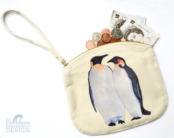 Penguin Canvas Zip Purse Makeup Bag Coin Purse Small Accessory Pouch by ceridwenDESIGN http://ift.tt/1TdxCam