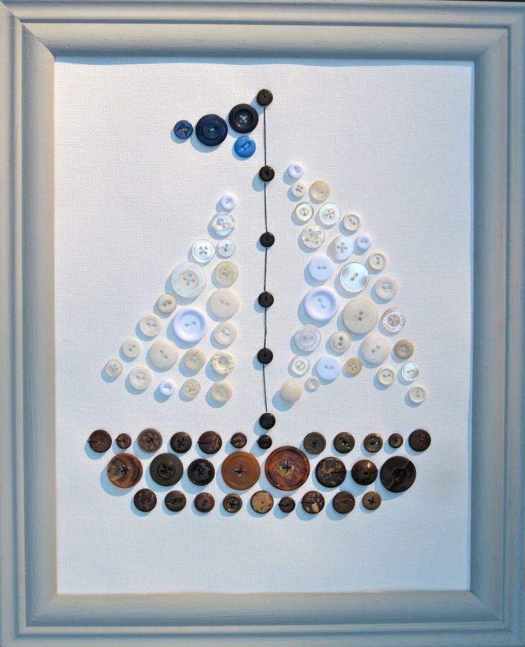 Bead and Button Sailboat por ArtworkbySaraSearle en Etsy