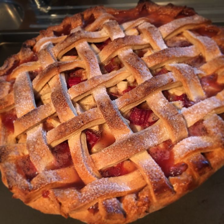 Apple & Rhubarb, lattice top pie! So pretty and was so delicious!!!