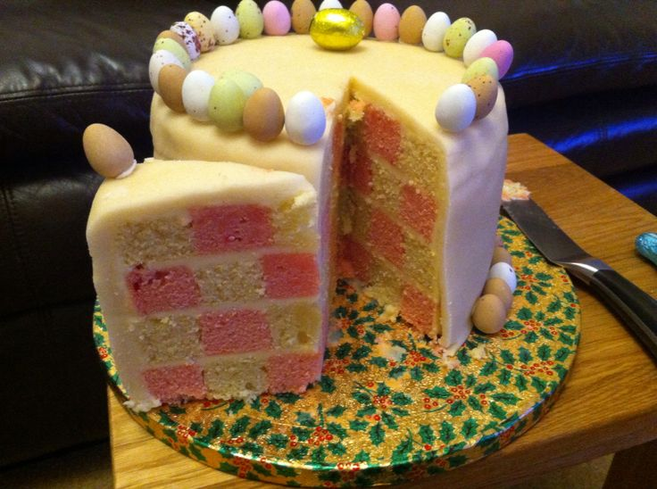 Easter checker boad cake with marzipan