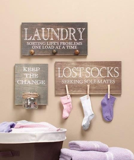 "Finishing touches for laundry room. Love the sayings. Hickity, you need a sign that says ""we're gonna hit that laundry hard!"" :)"