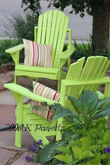 Lively lime green: Colors For Adirondack Chairs, Patio Chairs, Outdoor Patio, Limes Green, Colors Adirondack Chairs, Green Chairs, Decks Chairs, Living Limes, Adirondack Chairs Patio