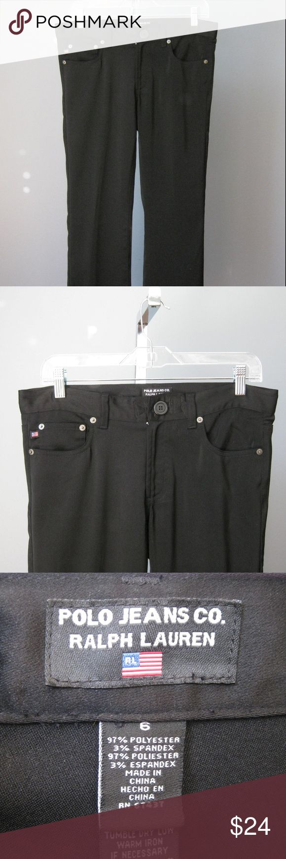 "Polo Jeans Smooth Black Jeans Ralph Lauren These black jeans are made of a very smooth almost knit fabric. Polo Ralph Lauren Size 6 Inseam 32""  Let me know if you need any other specific measurements. Thanks for looking! #22788 Polo by Ralph Lauren Jeans"