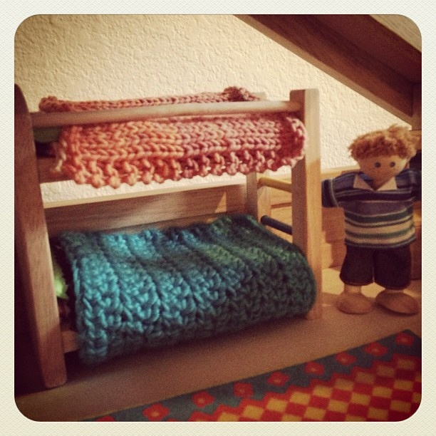 Knit & crocheted swatches make great, dollhouse bed blankets!