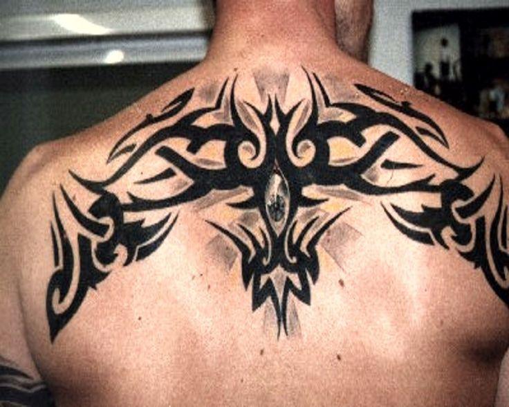 Shoulder Cap Fan Tattoo Patterns | Upper Back Tribal Tattoo Designs for Men