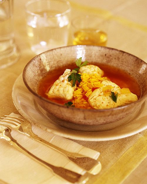 This version of bouillabaisse features white fish only. If you like, use a combination of fish and shellfish. If you're using shrimp, you can make a superb stock with the shrimp shells by roasting them in the oven, then deglazing the pan with a little white wine. Combine this with water, carrots, celery, and herbs and simmer for up to 1 hour, strain, cool, and freeze the stock.
