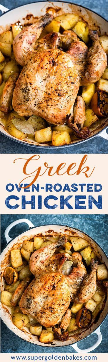 Slow roasted one-pot Greek chicken with potatoes, lemon and oregano. An incredibly simple recipe that's delicious and meant for sharing.
