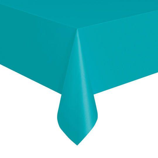"108"" x 54"" Plastic Teal Tablecloths, 2ct"