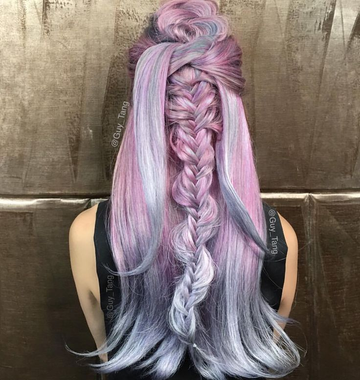Pink to Silver Color Melt by @guy_tang Love the messy braided style too! hotonbeauty.com