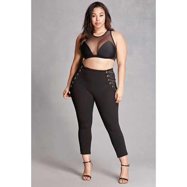 Forever21 Plus Size Laced Grommet Leggings ($45) ❤ liked on Polyvore featuring plus size women's fashion, plus size clothing, plus size pants, plus size leggings, black, eyelet pants, forever 21 leggings, lace-up leggings, legging pants and forever 21 pants