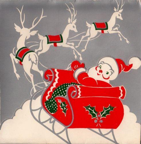 Vintage Greeting Card Christmas Santa Claus Reindeer (O762)