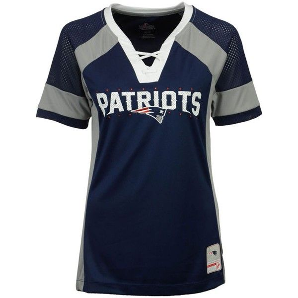 Majestic Women's New England Patriots Draft Me T-Shirt ($55) ❤ liked on Polyvore featuring tops, t-shirts, navy, blue t shirt, football jersey, nfl t shirts, navy blue v neck t shirt and navy blue t shirt