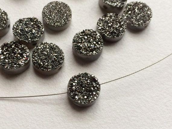 4 Pcs Charcoal Titanium Druzy Round Drilled by gemsforjewels