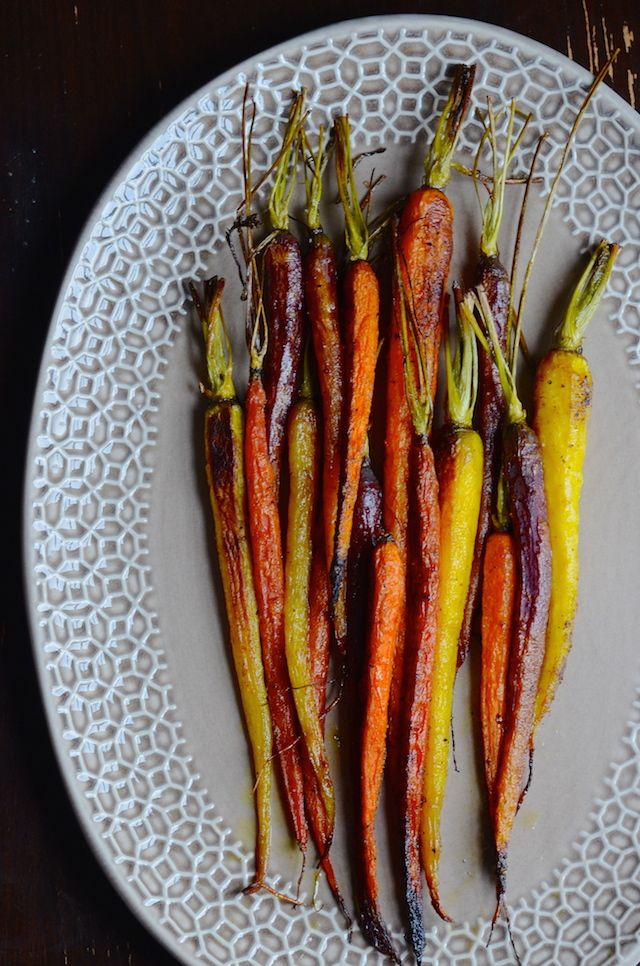 Easy vegetable side dish recipe for roasted carrots with Moroccan spices.