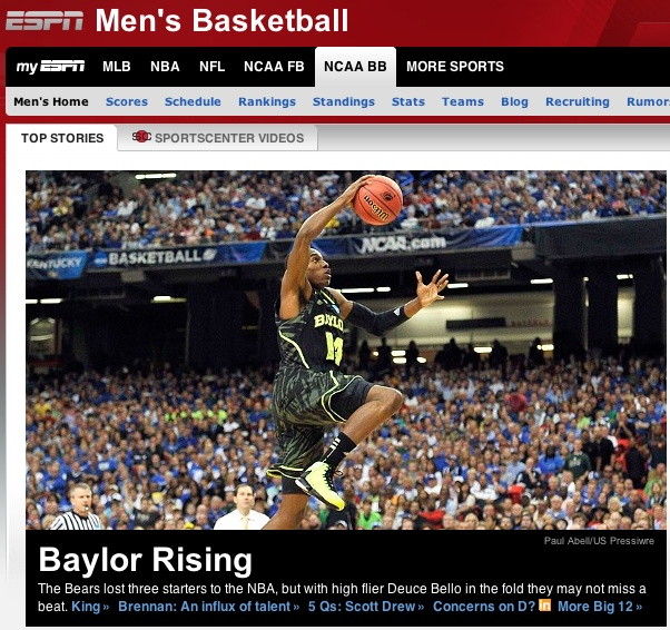 #Baylor men's basketball highlighted on ESPN.com (again). This time, a great story on Deuce Bello. (click image to read)