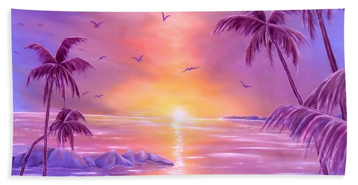 Beach Towel,  purple,violet,colorful,accessories,cool,trendy,fancy,beautiful,unique,awesome,modern,artistic,fashionable,unusual,for,sale,design,items,products,ideas,tropical,palmtrees,sunset