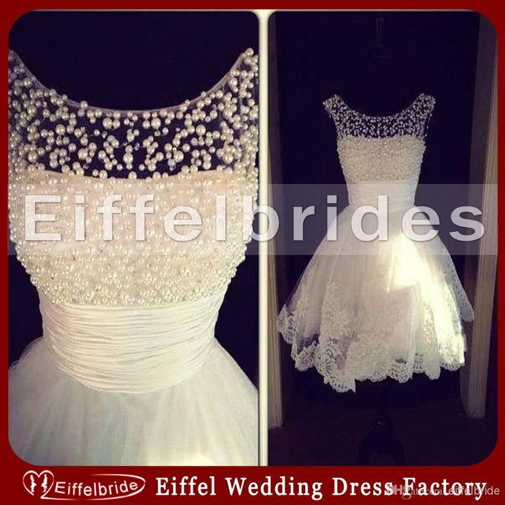2014 Gorgeous cortos vestidos de novia con Pura Luminoso perlas joya cuello y Glamorous Applique del cordón inferior Sexy vestidos de novia de tul Beach