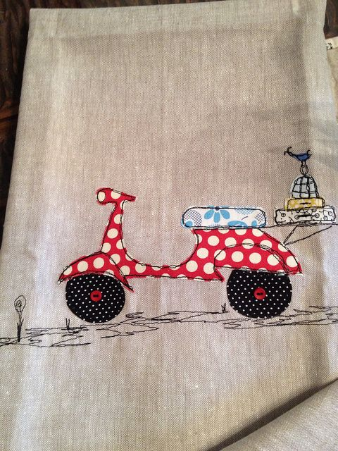 So cute! Freehand machine appliqué and embroidery