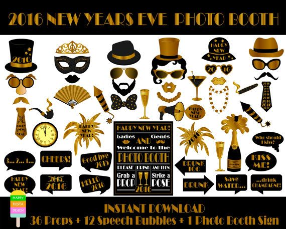 2016 New Years Eve Photo Booth Props – 49 Pieces
