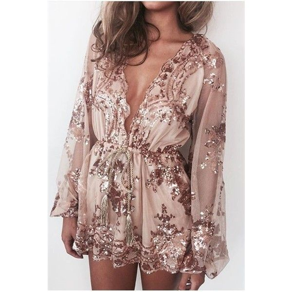 Gold Sequin Plunging V-neck Long Sleeves Playsuit (125 BRL) ❤ liked on Polyvore featuring jumpsuits, rompers, brown romper, gold sequin romper, plunge romper, long sleeve v neck romper and long-sleeve romper