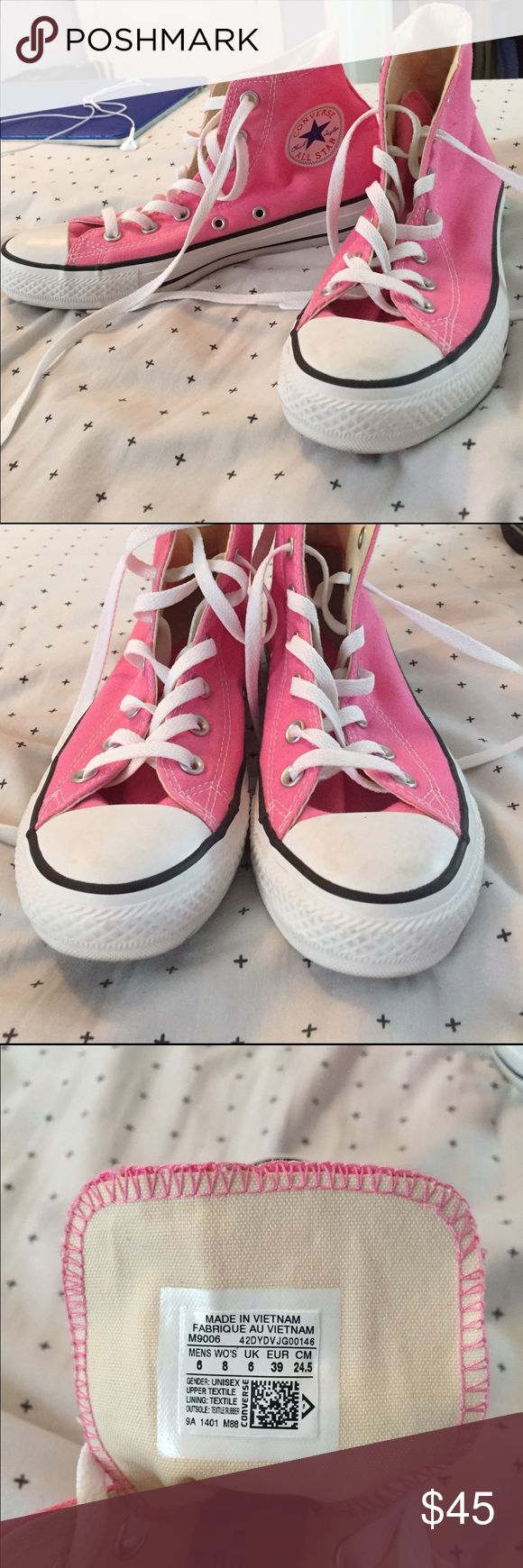 Pink High Top Converse NWOT NWOT. Worn out twice. These are a size 8 and I'm a true nine so that's why I'm selling them. I am open to offers! And other questions just ask. Converse Shoes