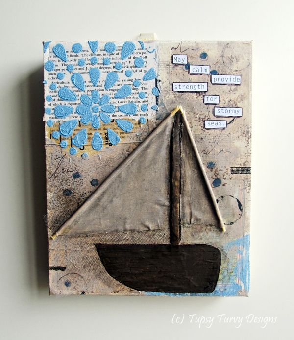 Sailing boat dimensional canvas in chocolate brown and light blue hues www.madeit.com.au/TupsyTurvy