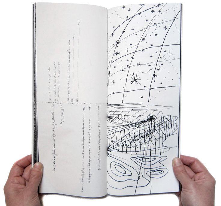 Plongées célestes - yann bagot Plongées célestes, un récit du regard de l'homme sur les espaces stellaires et abyssaux, pensés comme deux pôles d'un même inconnu,  les extrémités infinies du double rêve vertical. Une ligne centrale, ligne du temps et horizon, traverse le livre et organise le récit. Livre d'artiste, 86 pages, 14 x 32 cm, imprimé sur papier elementa 50g, reliure japonaise, 10 exemplaires. Ce livre fait partie du projet de diplôme à l'Ensad Paris, Des abysses aux cieux, juin…