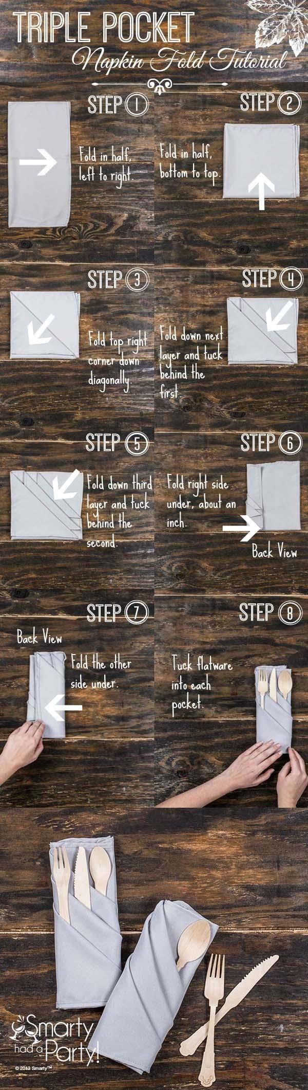 Easy, yet elegant triple pocket napkin folding tutorial.